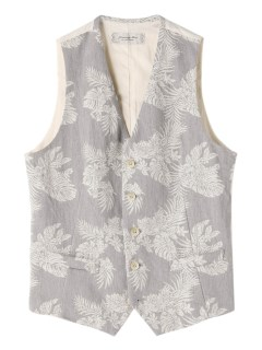 ジャーニーマン(JOURNEYMAN)のJourneyman Botanical Patterned Gilet Indigo VEST / ベスト