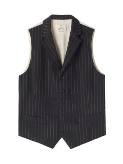 アンドワークス(&WORKS)の&Works Washed Stripe Gilet Gray VEST / ベスト
